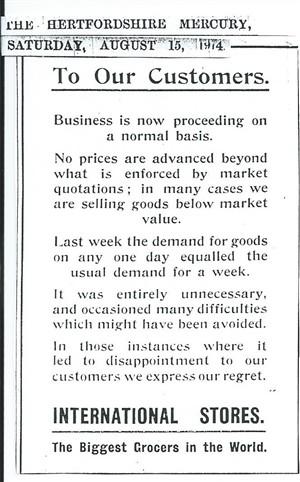 International Stores advert in Hertfordshire Mercury
