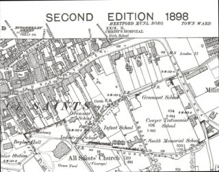 Green Coat School located on London Road | 1898 OS Map
