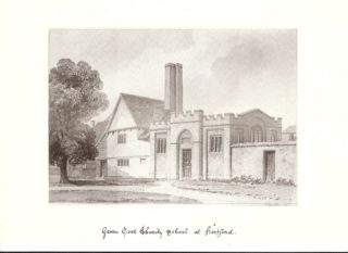 A drawing of the original school building