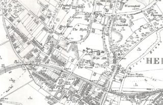 The vicarage is in the top right with the church towards the bottom left between the railway and Port Vale | 1897 OS Map