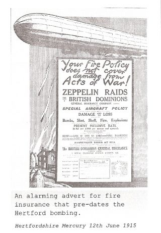 An alarming advert for fire insurance from Hertfordshire Mercury, 12th June 1915   Hertfordshire Mercury