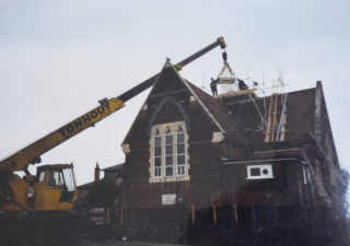 Musley School, Ware | New tower being added in 1989, Herts Archives Off Acc 1378