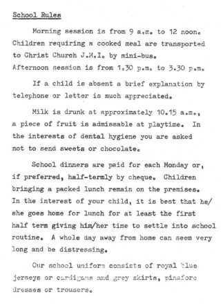 Musley School, Ware | School rules, 1985, Herts Archives Off Acc 1378