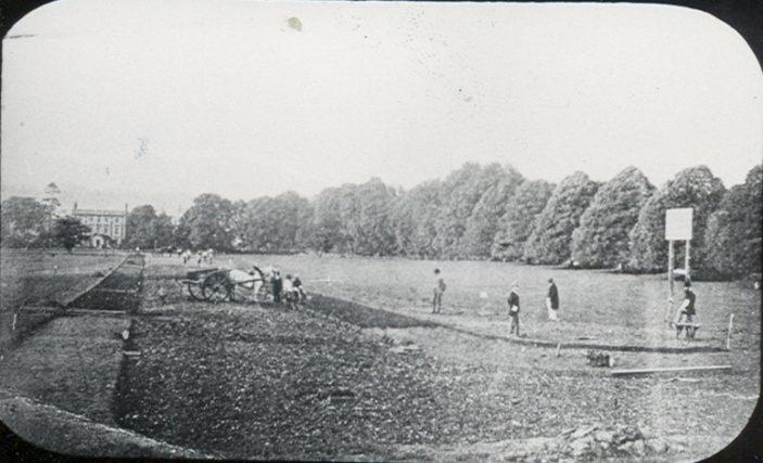 Queens Road being laid out.  The turning into Hagsdell Road is at the bottom of the picture.  The line of chestnut trees is in All Saints' Church yard. Bayley Hall can be seen in the distance | Elsden, Hertfordshire Archives and Local Studies