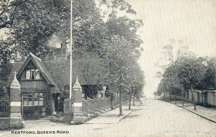 Looking up Queens Road from the junction with Hagsdell Road | Hertfordshire Archives and Local Studies