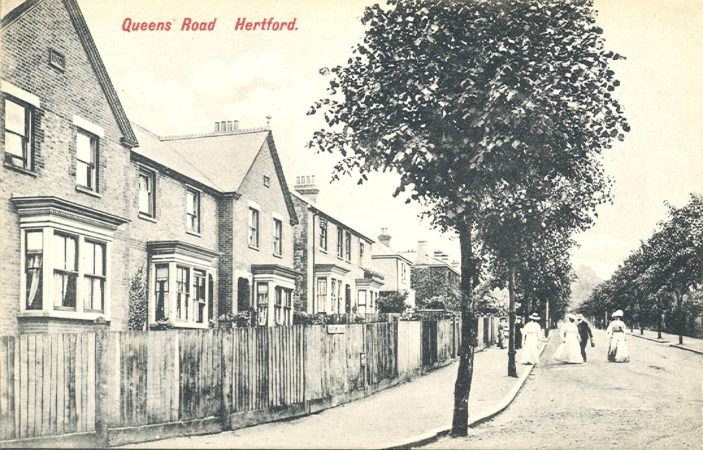 Looking up Queens Road from the turning to All Saints' Church entrance | Hertfordshire Archives and Local Studies