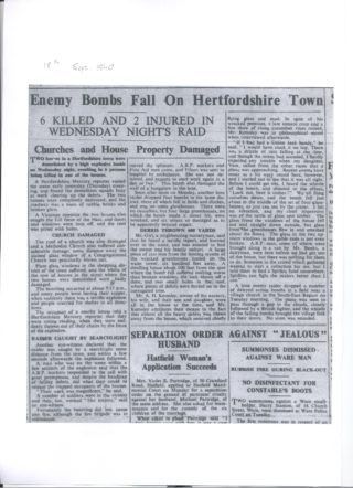 Mercury News report about the bombs - 18th September 1940