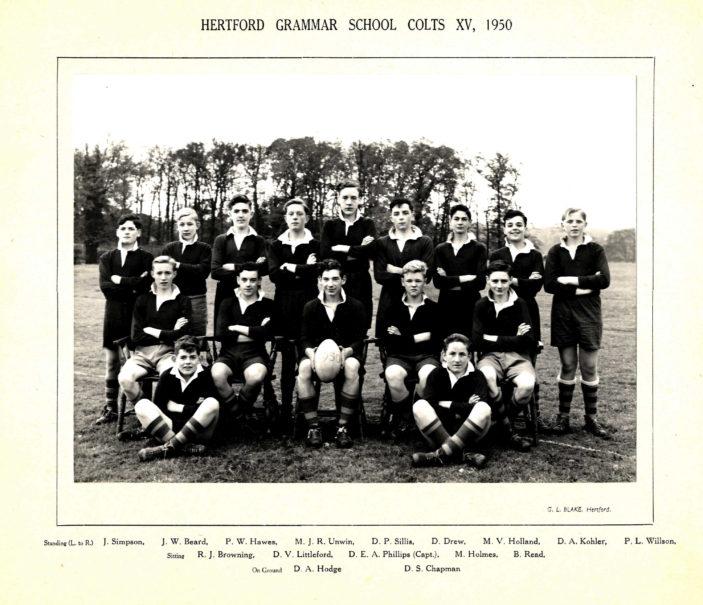 Hertford Grammar School Colts XV, 1950. | Richard Hale School Archive