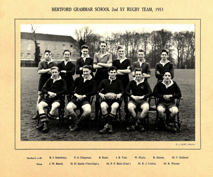 Hertford Grammar School 2nd XV Rugby Team, 1951 | Richard Hale School Archive
