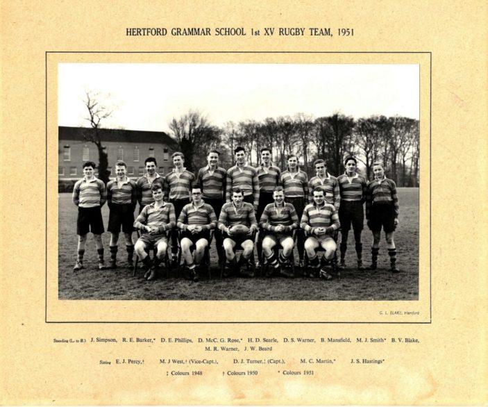 Hertford Grammar School 1st XV Rugby Team, 1951 | Richard Hale School Archive