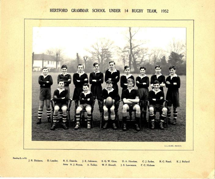 Hertford Grammar School Under 14 Rugby Team, 1952   Richard Hale School Archive
