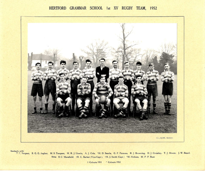 Hertford Grammar School 1st XV Rugby Team, 1952 | Richard Hale School Archive