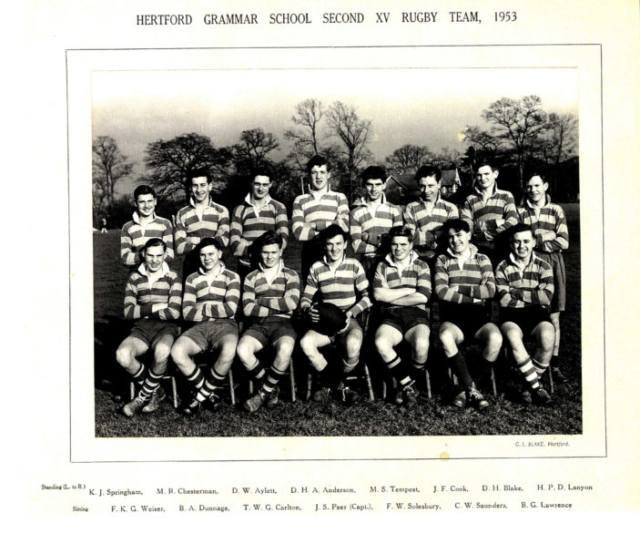 Hertford Grammar School 2nd XV Rugby Team, 1953 | Richard Hale School Archive
