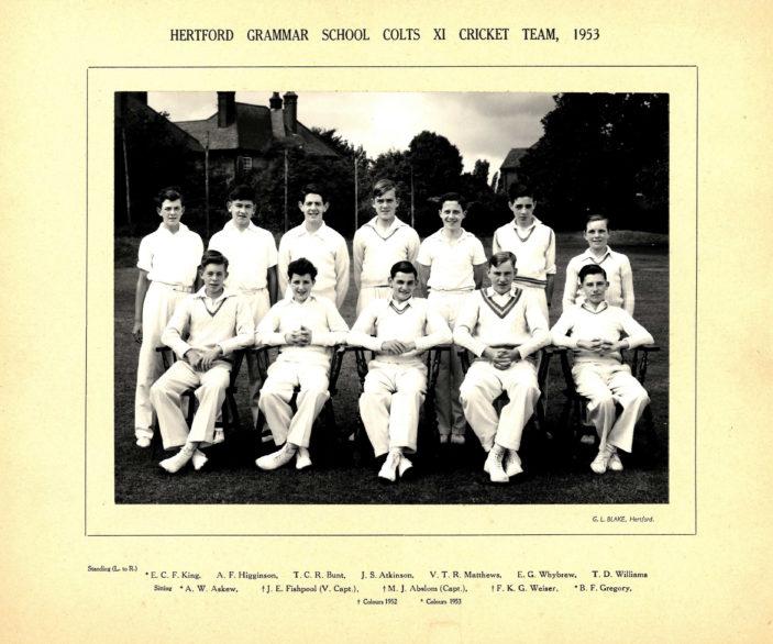 Hertford Grammar School Colts XI Cricket Team, 1953 | Richrad hale School Archive