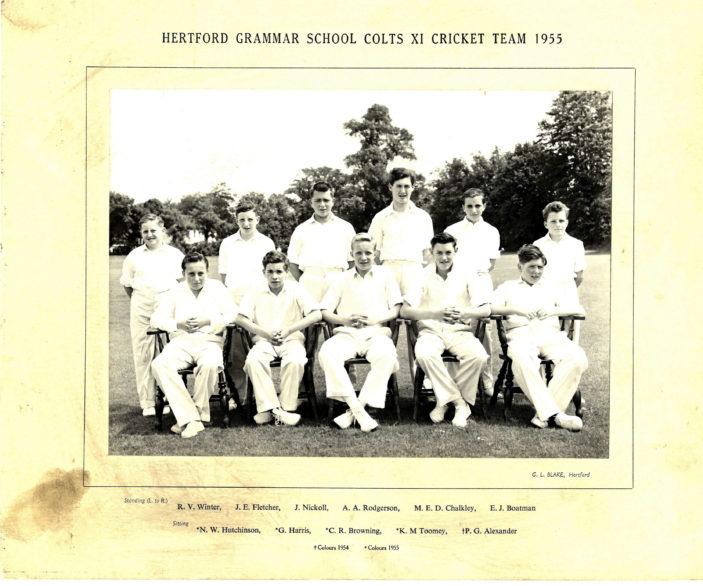 Hertford Grammar School Colts XI Cricket Team 1955 | Richard Hale School Archive