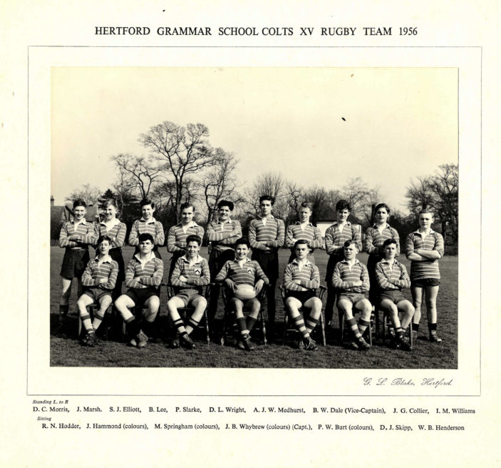 Hertford Grammar School Colts XV Rugby Team, 1956 | Richard Hale School Archive