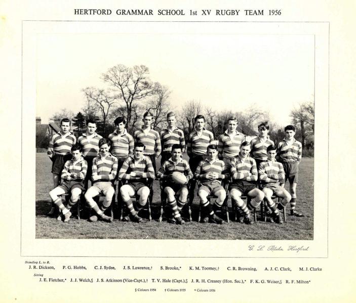 Hertford Grammar School 1st XV Rugby Team, 1956 | Richard Hale School Archive
