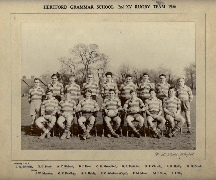 Hertford Grammar School 2nd XI Rugby Team, 1956 | Richard Hale School Archives