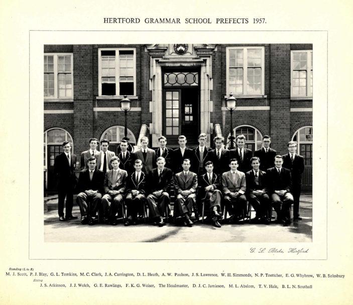 Hertford Grammar School Prefects 1957 | Richard Hale School Archive