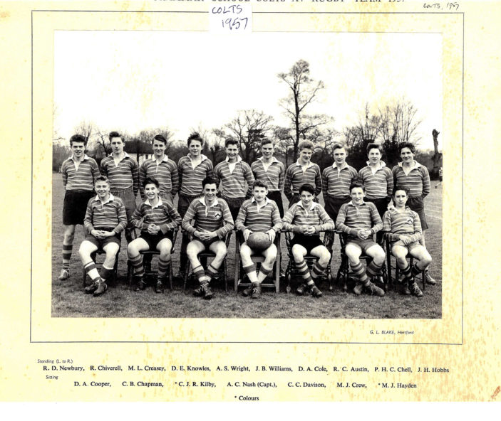Hertford Grammar School Colts XV Rugby Team, 1957 | Richard Hale School Archive