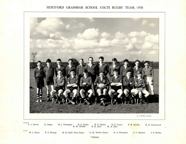 Hertford Grammar School Colts Rugby Team, 1958 | Richard Hale School Archive