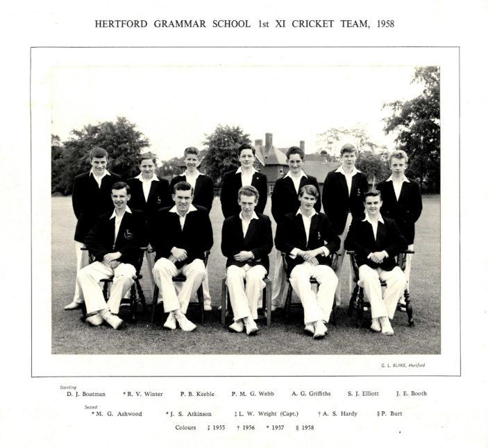 Hertford Grammar School 1st XI Cricket Team, 1958 | Richard Hale School Archive