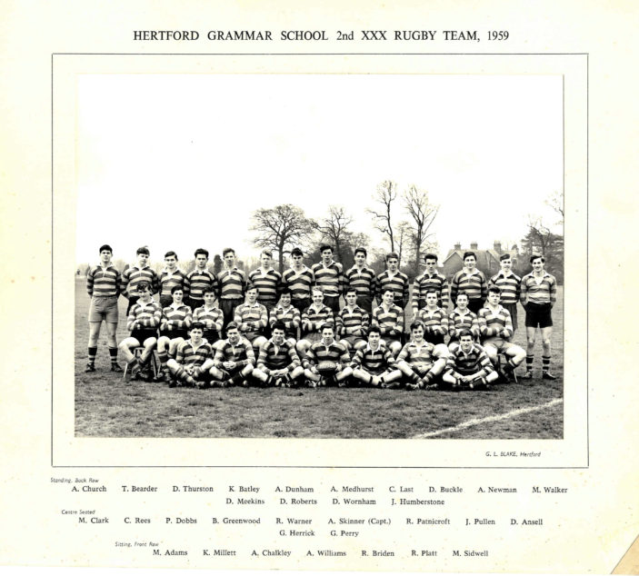 Hertford Grammar School 2nd XXX Rugby Team, 1959 | Richard Hale School Archive