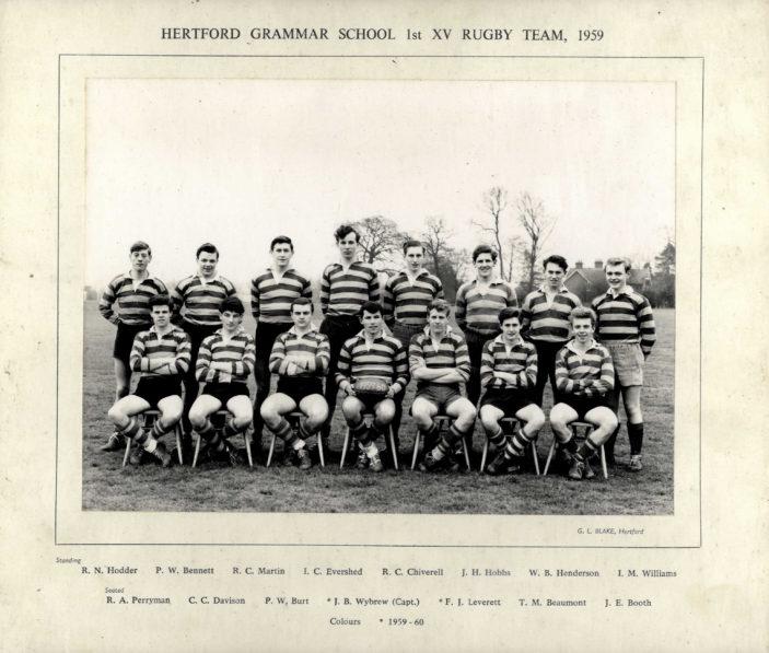 Hertford Grammar School 1st XV Rugby Team, 1959   richard Hale School Archive