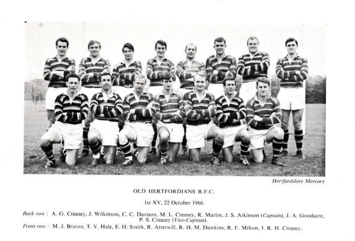 Old Hertfordians R.F.C. 1st XV, 22nd October  1966 | Richard Hale School Archive