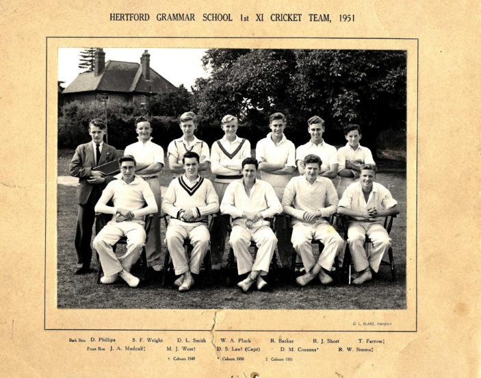 Hertford Grammar School 1st XI Cricket Team, 1951   Richard Hale School Archive