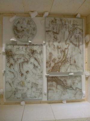 Kiln with glass maps insitu | Artist: Marion Hewitt
