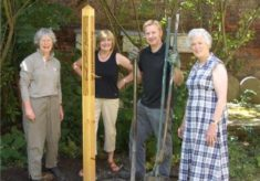Peace Pole in Hertford Friends Meeting House Garden