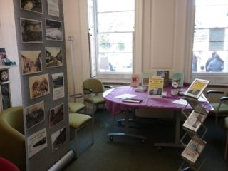 Display of photographs and books on the town at Ware Library | Terri Moss