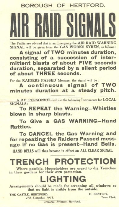 Information Leaflet issued by Herford Town Clerk, dated 27th September, 1938
