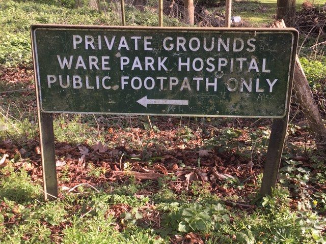 A Ware Park sign, 2020