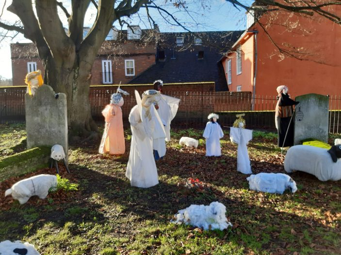 Life size characters in St Andrew's Church yard showing Angel Gabriel appearing to the shephards | Gill Cordingley