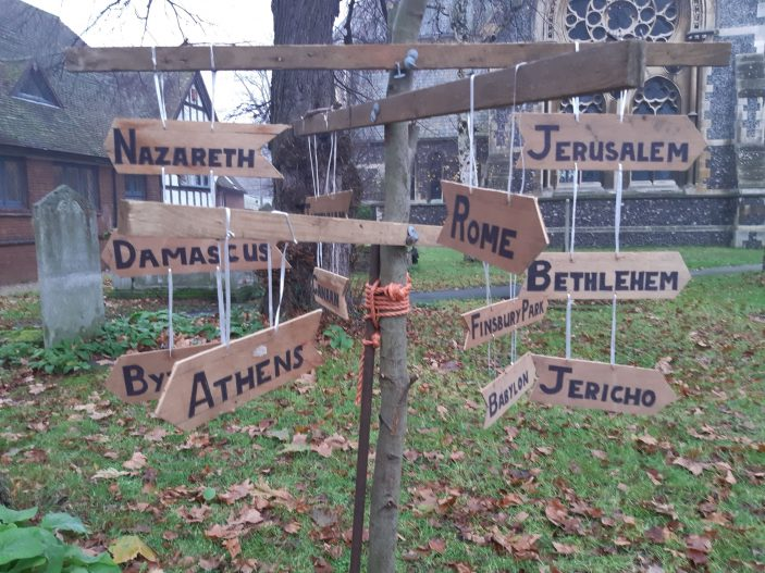 Signpost in St Andrew's Church yard display - showing the way to Nazarath and other places of the time such as Jerusalem, Jericho | Gill Cordingley