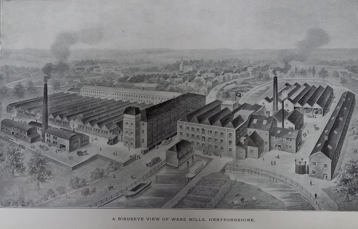 Drawing of an aerial view | Hertfordshire Archives & Local Studies (Ware.Industries pamphlet file)
