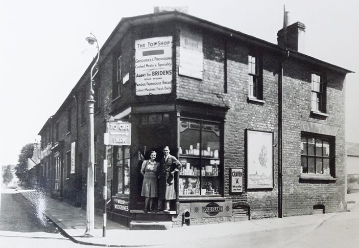 Ted and Dulcie Chivers outside their shop in New Road, 1946 | Hertfordshire Archives & Local Studies (Local Studies Library collection)