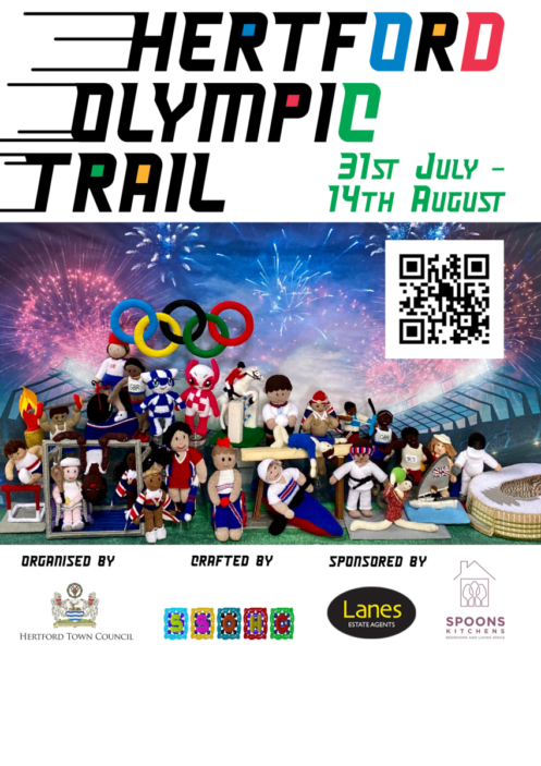 Olympic Rings surrounded by sporty characters in various yarns. Above iare the words Hertford Olympic Trail with speed lines to the left and the dates 31st July to 14th August | Hertford Yarn Bombers