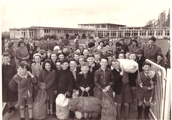 Pupils of Morgans Walk School before they set for Cuffley Camp, 1956