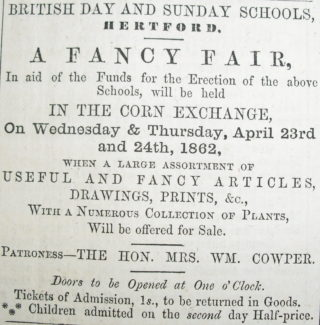 Advert for the Fancy Fair in Hertfordshire Mercury, April 1862