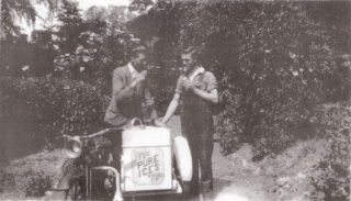 1934: Left - Bill Brothers; Right - Norman Chapman sampling their wares