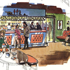 Illustration of the bar,1970s