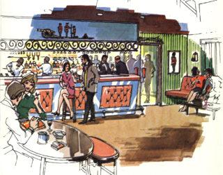 Illustration of the bar,1970s