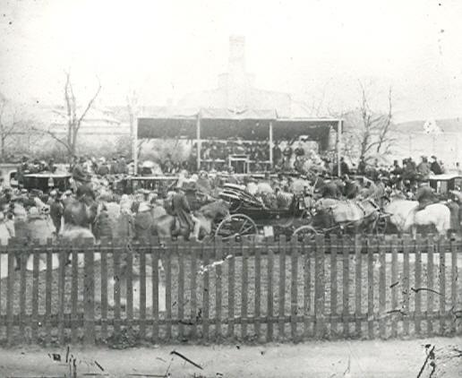 The hustings at Plough Meadow before 1872 | Hertfordshire Archives & Local Studies