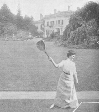 This photograph may look similar to how playing tennis in front of Balls Park might have looked.  Taken from Country Life in America, April 1907 | tennisite museum