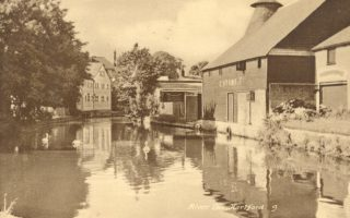 The former malthouse (on the right of the photograph) at Old Cross Wharf, c. 1957, overlooking the Upper Winding Basin