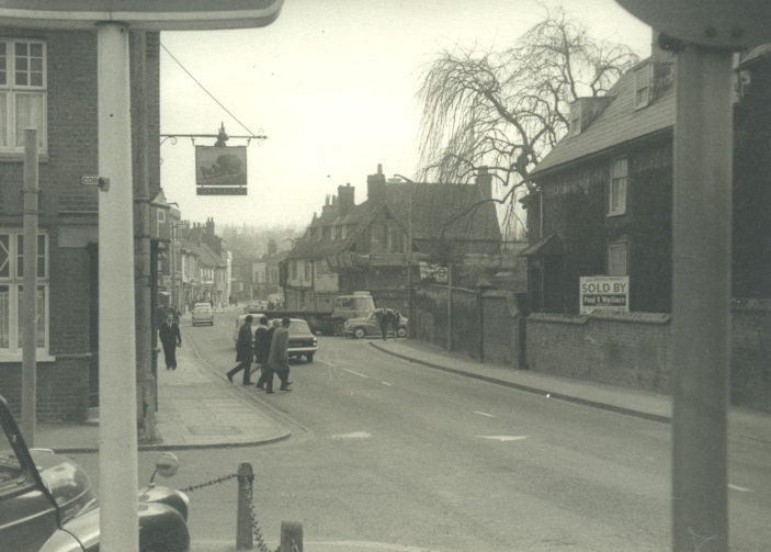 Corner of Coronation Road and Baldock Street, 1966.  The Wagon and Horses was run by R Easton in 1958. | Herts Archives & Local Studies (ref Acc 5290)