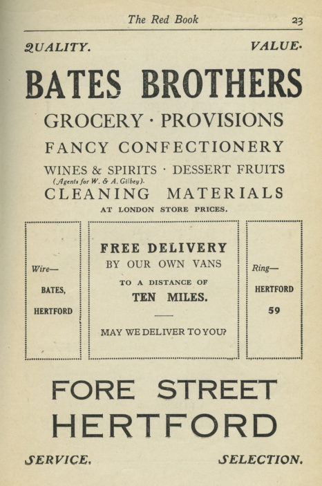 Advert from 1924 | The Red Book, Herts Archives